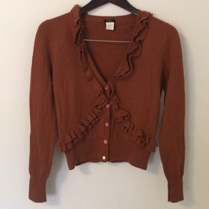 Brown J.Crew wool ruffle sweater Medium Med M